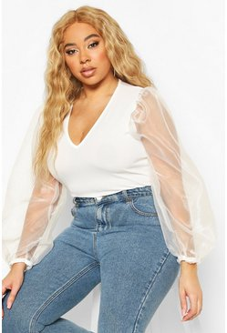 Ivory Plus Organza Mesh Puff Sleeve Fitted Top