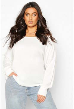 Womens White Plus Ribbed Oversized Longsleeve T-Shirt