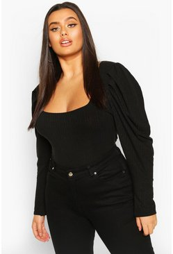 Womens Black Plus Puff Sleeve Square Neck Jumper