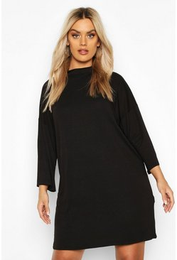 Plus High Neck Kimono Sleeve T-Shirt Dress, Black, FEMMES