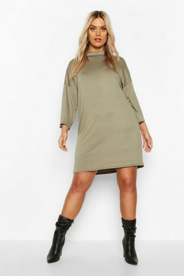 Khaki Plus High Neck Kimono Sleeve T-Shirt Dress