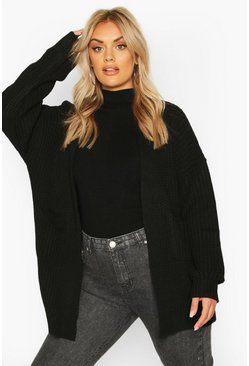 Plus Oversized Boyfriend Cardigan, Black