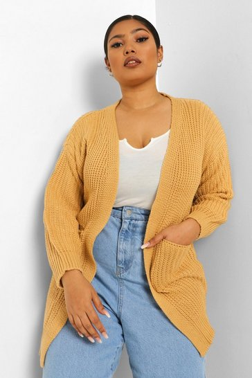 Camel Plus Oversized Boyfriend Cardigan