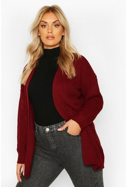 Plus Oversized Boyfriend Cardigan, Wine