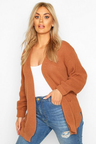 Rust Plus Waffle Knitted Chunky Oversized Cardigan