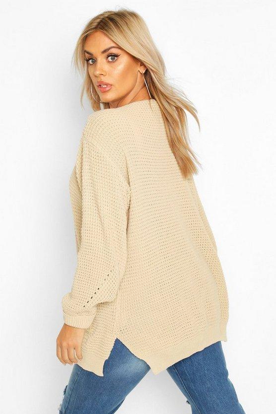 Plus Waffle Knitted Chunky Oversized Cardigan
