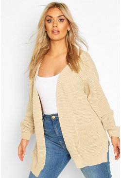 Womens Stone Plus Waffle Knitted Chunky Oversized Cardigan