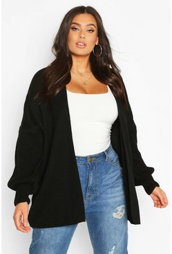 Womens Black Plus Bell Sleeve Knitted Cardigan