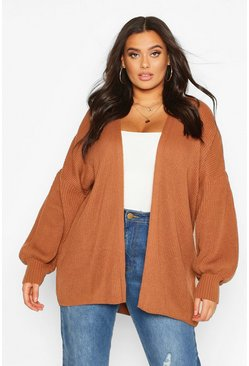 Tobacco Plus Bell Sleeve Knitted Cardigan