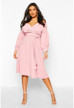 Plus Off The Shoulder Wrap Midi Dress, Rose