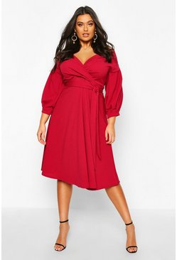 Plus Off The Shoulder Wrap Midi Dress, Wine