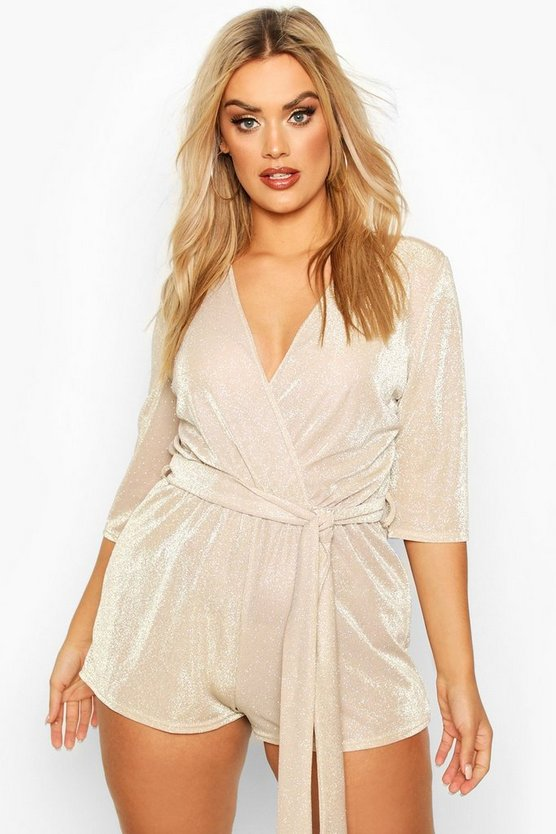 Womens Gold Plus Glitter Wrap Playsuit