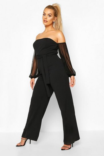 Black Plus Bardot Mesh Sleeve Wide Leg Jumpsuit