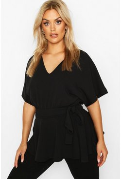 Womens Black Plus V-Neck Belted Peplum Top