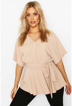Plus V-Neck Belted Peplum Top, Stone