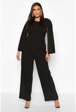 Plus Cape Sleeve Wide Leg Jumpsuit, Black, MUJER