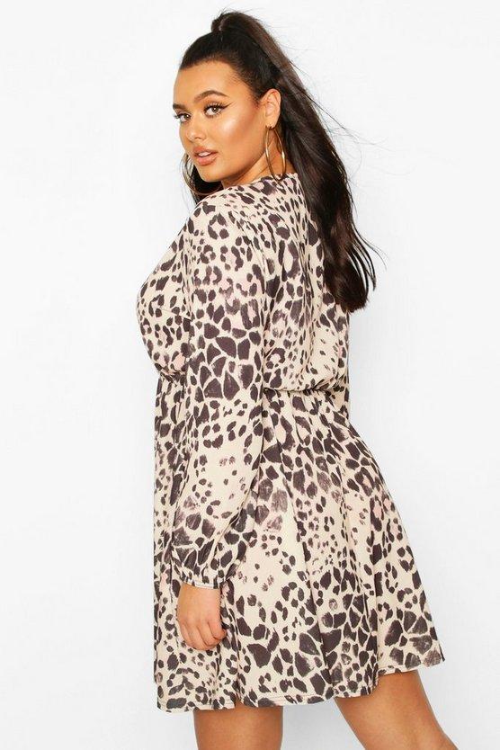 Plus Leopard Wrap Skater Dress