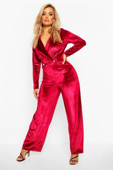 Womens Berry Plus Velvet Wrap Front Wide Leg Jumpsuit