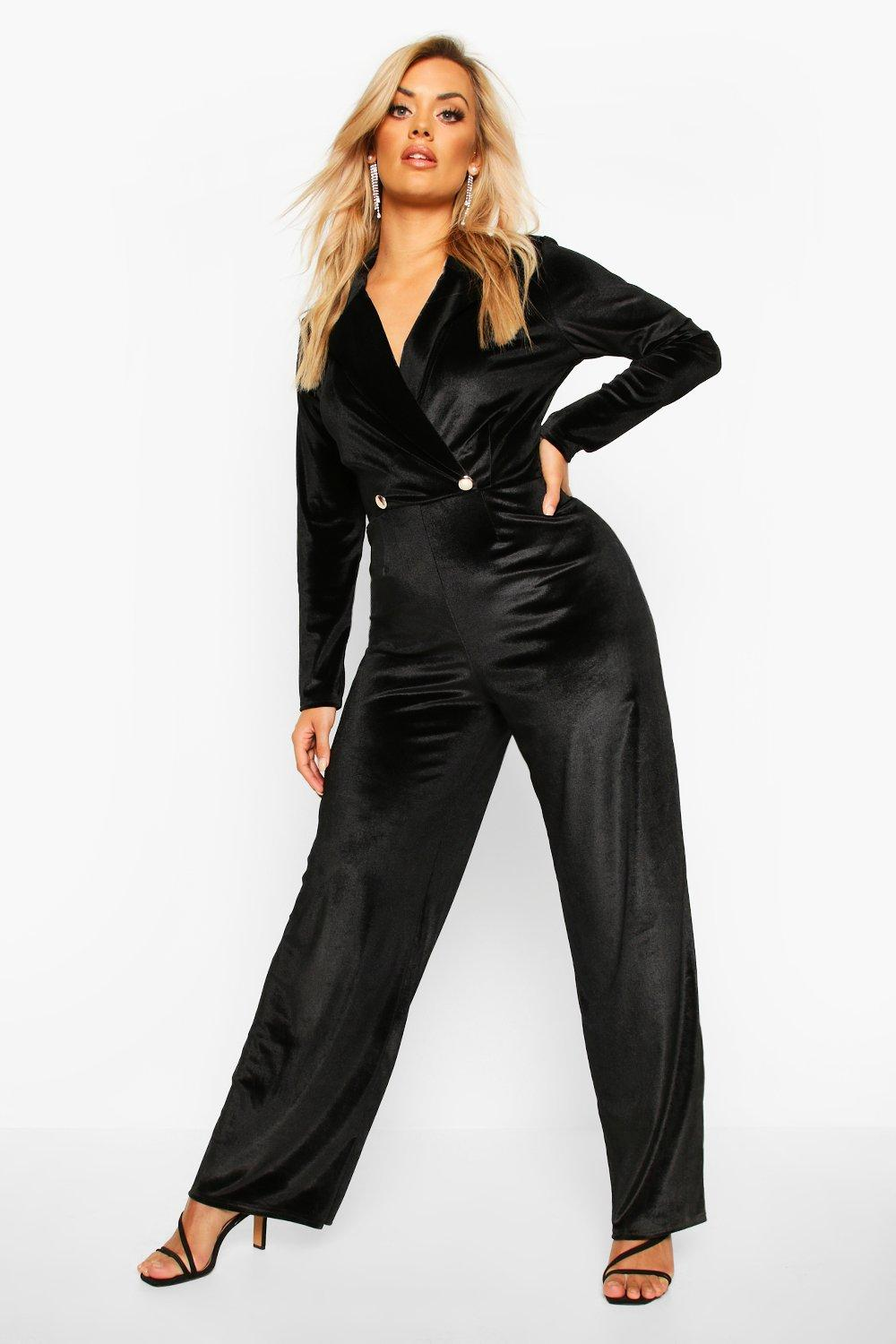 70s Jumpsuit | Disco Jumpsuits – Sequin, Striped, Gold, White, Black Womens Plus Velvet Wrap Front Wide Leg Jumpsuit - black - 16 $56.00 AT vintagedancer.com