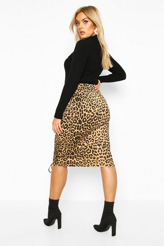 Plus Leopard Print Skirt