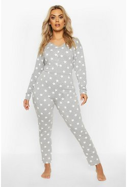 Plus Star Print Onesie, Grey, Donna