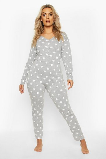 Womens Grey Plus Star Print Onesie
