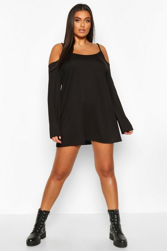 Black Plus Cold Shoulder Strappy Long Sleeve Shift Dress