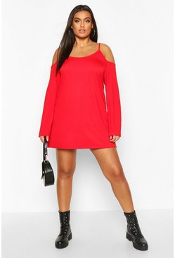 Red Plus Cold Shoulder Strappy Long Sleeve Shift Dress