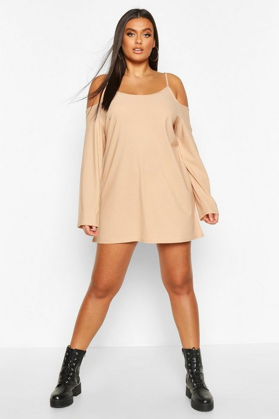 Stone Plus Cold Shoulder Strappy Long Sleeve Shift Dress