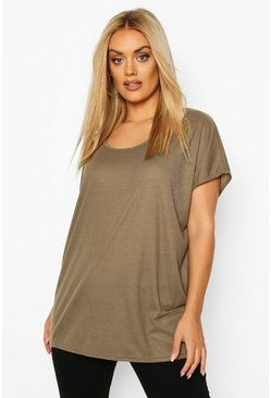 Plus Soft Rib Oversized T-Shirt, Khaki, FEMMES