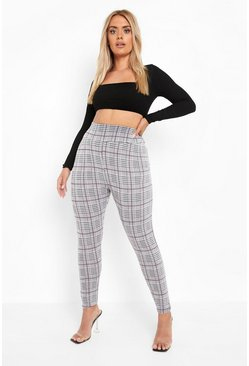 PLus Checked Knitted High Waist Legging, Grey