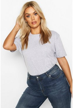 Grey Plus Basic Boxy Fit T-Shirt