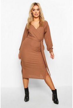 Womens Chocolate Plus Wrap Rib Self Belted Midi Dress