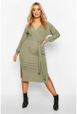 Womens Khaki Plus Wrap Rib Self Belted Midi Dress
