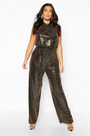 Womens Gold Plus Metallic Sequin Wide Leg Belted Jumpsuit