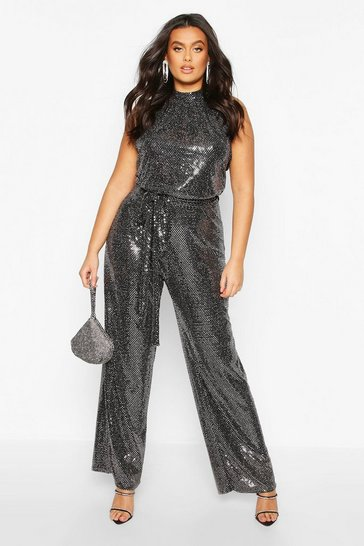 Womens Silver Plus Metallic Sequin Wide Leg Belted Jumpsuit