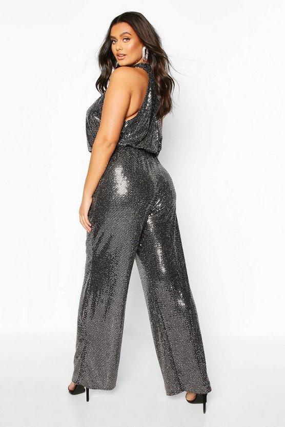 Plus Metallic Sequin Wide Leg Belted Jumpsuit