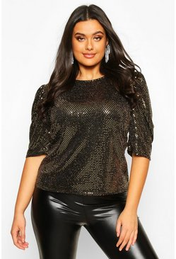 Womens Gold Plus Sequin Metallic Puff Sleeve Top