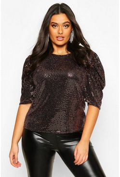 Rose gold Plus Sequin Metallic Puff Sleeve Top