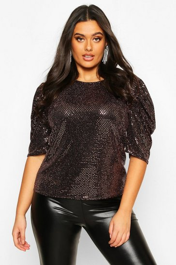 Womens Rose gold Plus Sequin Metallic Puff Sleeve Top