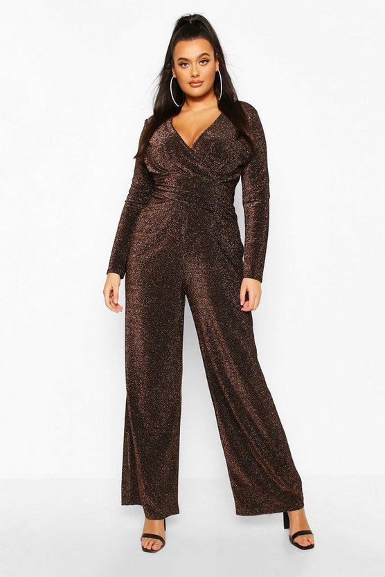 Plus Metallic Glitter Cape Sleeve Jumpsuit