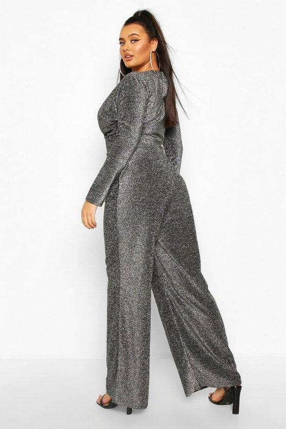 Plus Metallic Glitter Cape Sleeve Jumpsuit