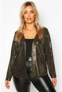 Plus Sequin Metallic Collarless Jacket, Gold, FEMMES