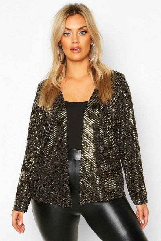 Plus Sequin Metallic Collarless Jacket