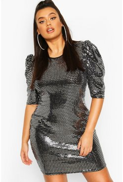 Plus Sequin Metallic Puff Sleeve Shift Dress, Silver