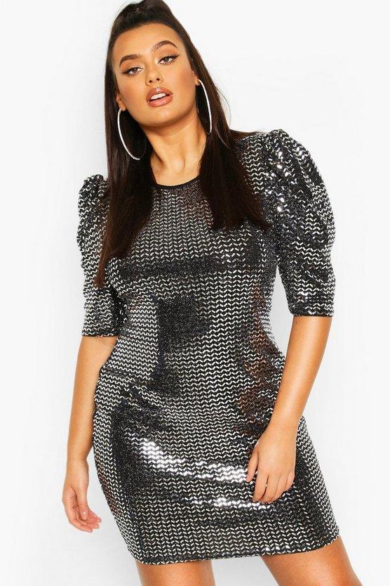 Plus Sequin Metallic Puff Sleeve Shift Dress