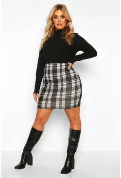 Womens Black Plus Mono Check Mini Skirt
