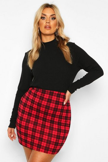 Womens Red Plus Check Mini Skirt