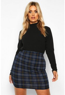 Navy Plus Check Mini Skirt