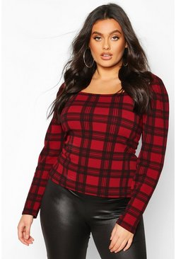 Plus Crepe Tartan Check Puff Sleeve Top, Red, ЖЕНСКОЕ
